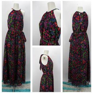 Modcloth Floral Chiffon Maxi Dress